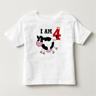 4th birthday party gift, dancing cow toddler t-shirt