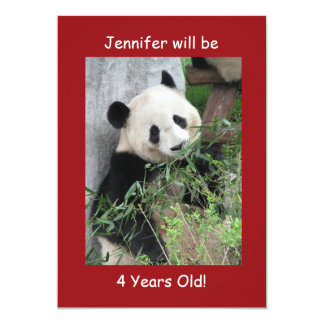 4th Birthday Party Invitation, Giant Pandas Red Card