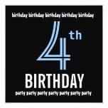 4th Birthday Party Invitation Template Blue Black