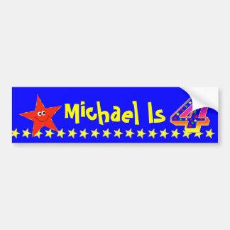 4th Birthday Party Red Smiley Star Decoration Bumper Sticker