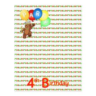 "4th Birthday Party Royal Bear Scrapbook  Paper 3 8.5"" X 11"" Flyer"