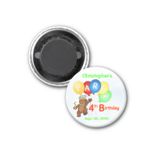 4th Birthday Party Royal Bears 1 Inch Round Magnet