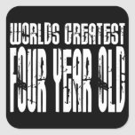 4th Birthday Party Worlds Greatest Four Year Old Square Sticker