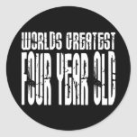 4th Birthday Party Worlds Greatest Four Year Old Sticker