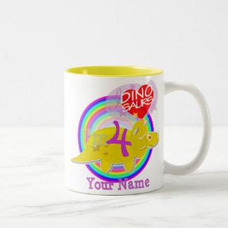 4th Birthday Party Yellow Cartoon Dino Name Mug
