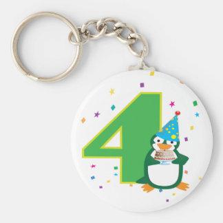4th Birthday Penguin Keychain