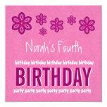 4th Birthday Pink Flowers Girl Custom Name Custom Announcement