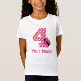 4th Birthday Pink Green Ladybug Personalized Shirt