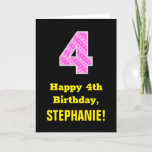 "[ Thumbnail: 4th Birthday: Pink Stripes and Hearts ""4"" + Name Card ]"