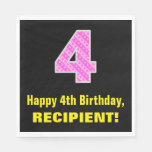 "[ Thumbnail: 4th Birthday: Pink Stripes and Hearts ""4"" + Name Napkins ]"