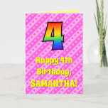 [ Thumbnail: 4th Birthday: Pink Stripes & Hearts, Rainbow # 4 Card ]