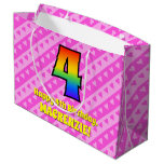 [ Thumbnail: 4th Birthday: Pink Stripes & Hearts, Rainbow # 4 Gift Bag ]