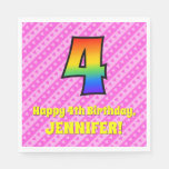 [ Thumbnail: 4th Birthday: Pink Stripes & Hearts, Rainbow # 4 Napkins ]
