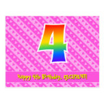 [ Thumbnail: 4th Birthday: Pink Stripes & Hearts, Rainbow 4 Postcard ]