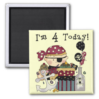 4th Birthday Pirate Tshirts and Gifts 2 Inch Square Magnet