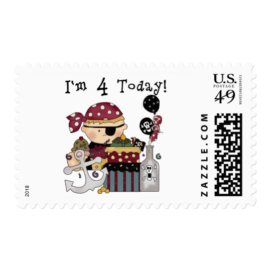 4th Birthday Pirate Tshirts and Gifts Stamp