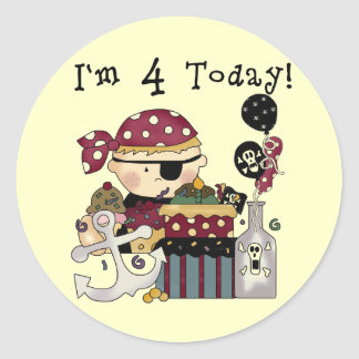 4th Birthday Pirate Tshirts and Gifts Classic Round Sticker