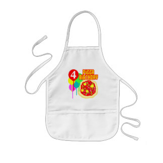 4th Birthday Pizza Birthday Kids' Apron