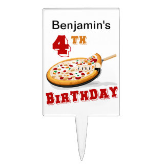 4th Birthday Pizza Party Cake Toppers