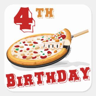 4th Birthday Pizza Party Square Sticker