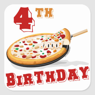 4th Birthday Pizza Party Square Stickers