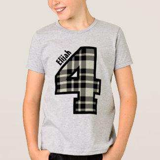 4th Birthday Plaid Four Year Custom Name V01C T-Shirt