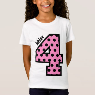 4th Birthday Polka Dots Four Year Custom Name V01M T-Shirt