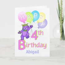 4th Birthday Princess Bear, Custom Name Card