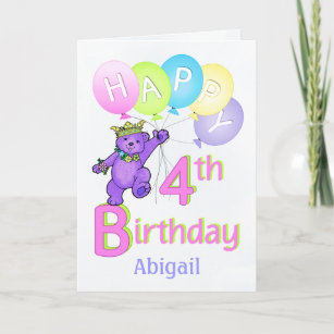 4th Birthday Princess Bear Custom Name Card