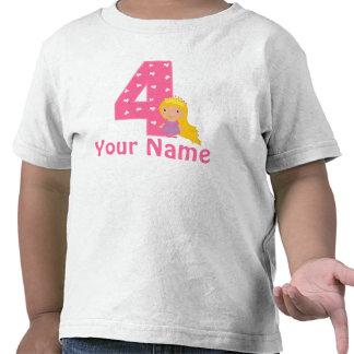 4th Birthday Princess Girls Personalized Shirt