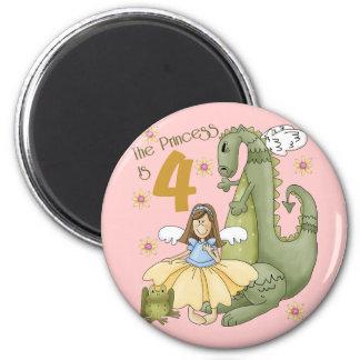 4th Birthday Princess Refrigerator Magnet