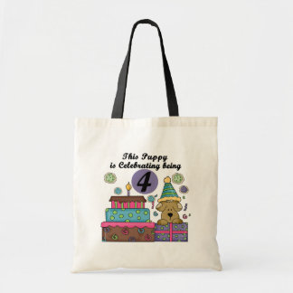 4th Birthday Puppy T-shirts and Gifts Tote Bag