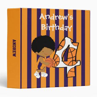 4th Birthday Purple and Orange Basketball Player Binders