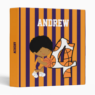 4th Birthday Purple and Orange Basketball Player Vinyl Binder