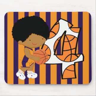 4th Birthday Purple and Orange Basketball Player Mouse Pad