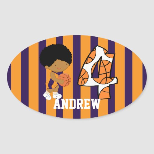 4th Birthday Purple and Orange Basketball Player Oval Sticker