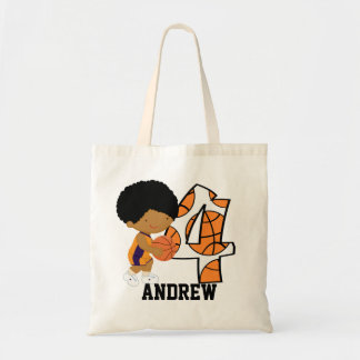 4th Birthday Purple and Orange Basketball Player Tote Bag