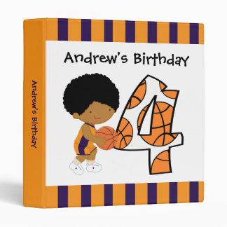 4th Birthday Purple & Orange Basketball Player v2 Binders