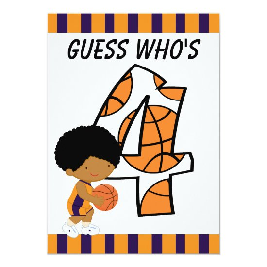 4th Birthday Purple & Orange Basketball Player v2 Invitation