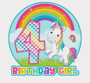 4th Birthday Rainbow Unicorn