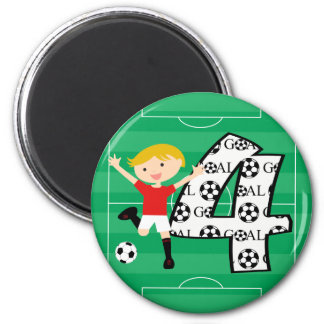 4th Birthday Red and White Soccer Goal Magnet
