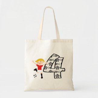 4th Birthday Red and White Soccer Goal Tote Bag