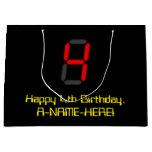 "[ Thumbnail: 4th Birthday: Red Digital Clock Style ""4"" + Name Gift Bag ]"