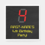 "[ Thumbnail: 4th Birthday: Red Digital Clock Style ""4"" + Name Napkins ]"