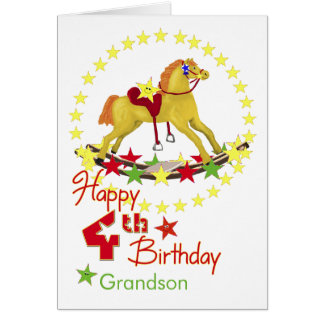 4th Birthday Rocking Horse Stars Cards