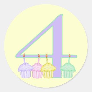 4th Birthday Round Sticker