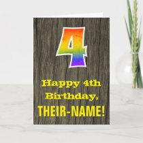 "4th Birthday: Rustic Faux Wood Look, Rainbow ""4"" Card"