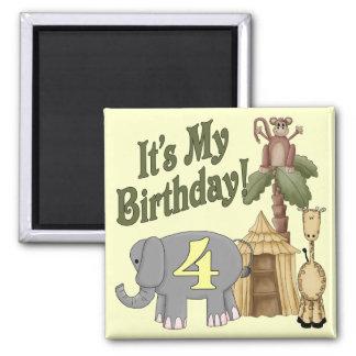 4th Birthday Safari Fridge Magnets