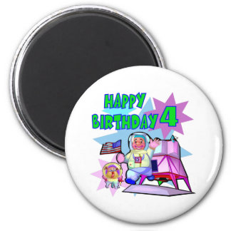 4th Birthday Space Birthday Refrigerator Magnet