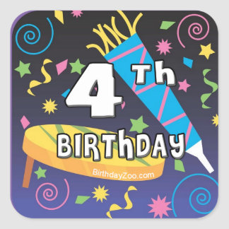 4th Birthday Square Sticker